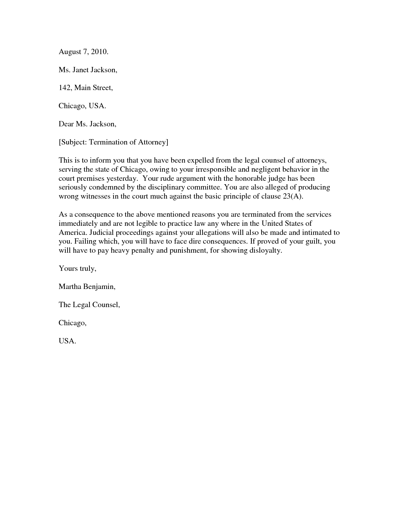Lawyer termination letter charlotte clergy coalition how to write a letter to fire your lawyer image collections spiritdancerdesigns Image collections