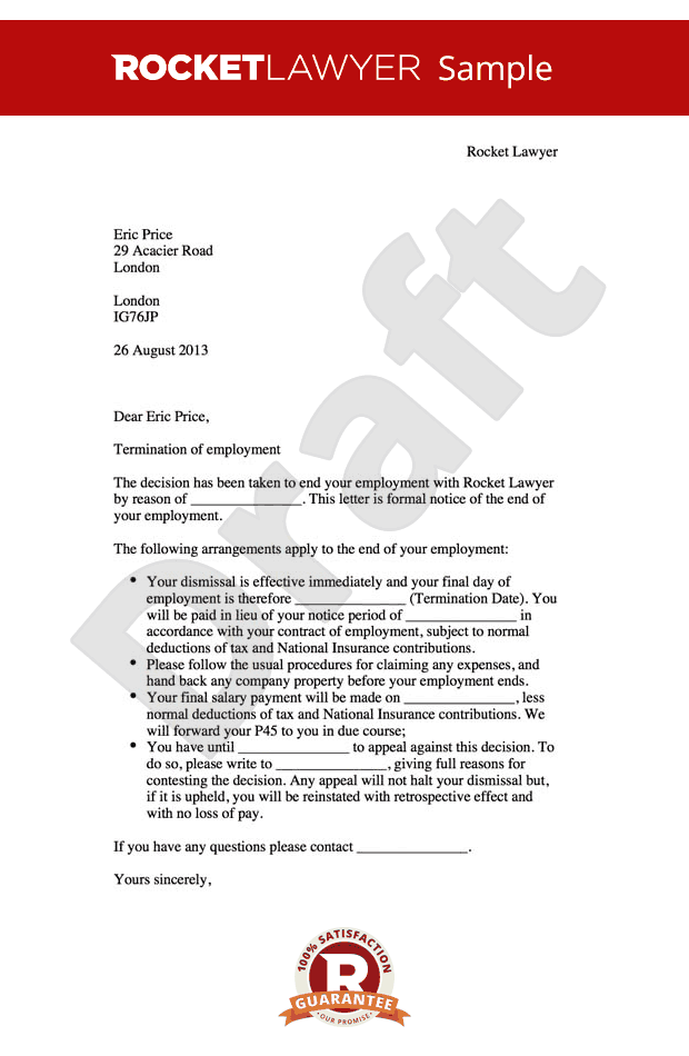 Termination of Employment Letter   Create a Dismissal Letter Online