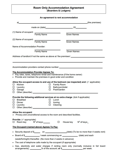 Lease Agreement For Renting A Room In My House Charlotte Clergy