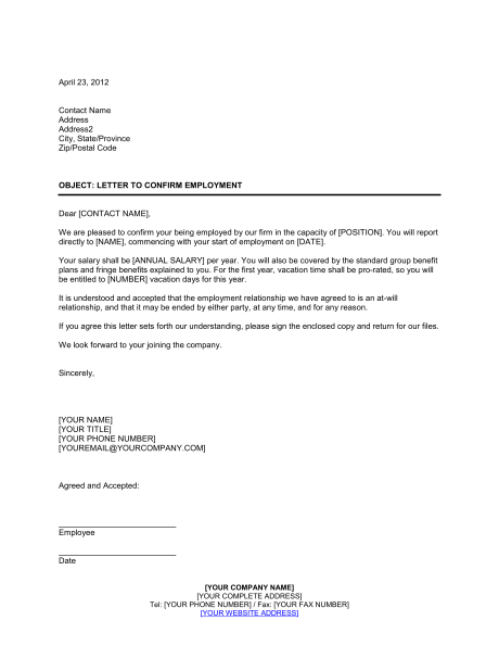Letter Confirming Employment   Template & Sample Form | Biztree.com