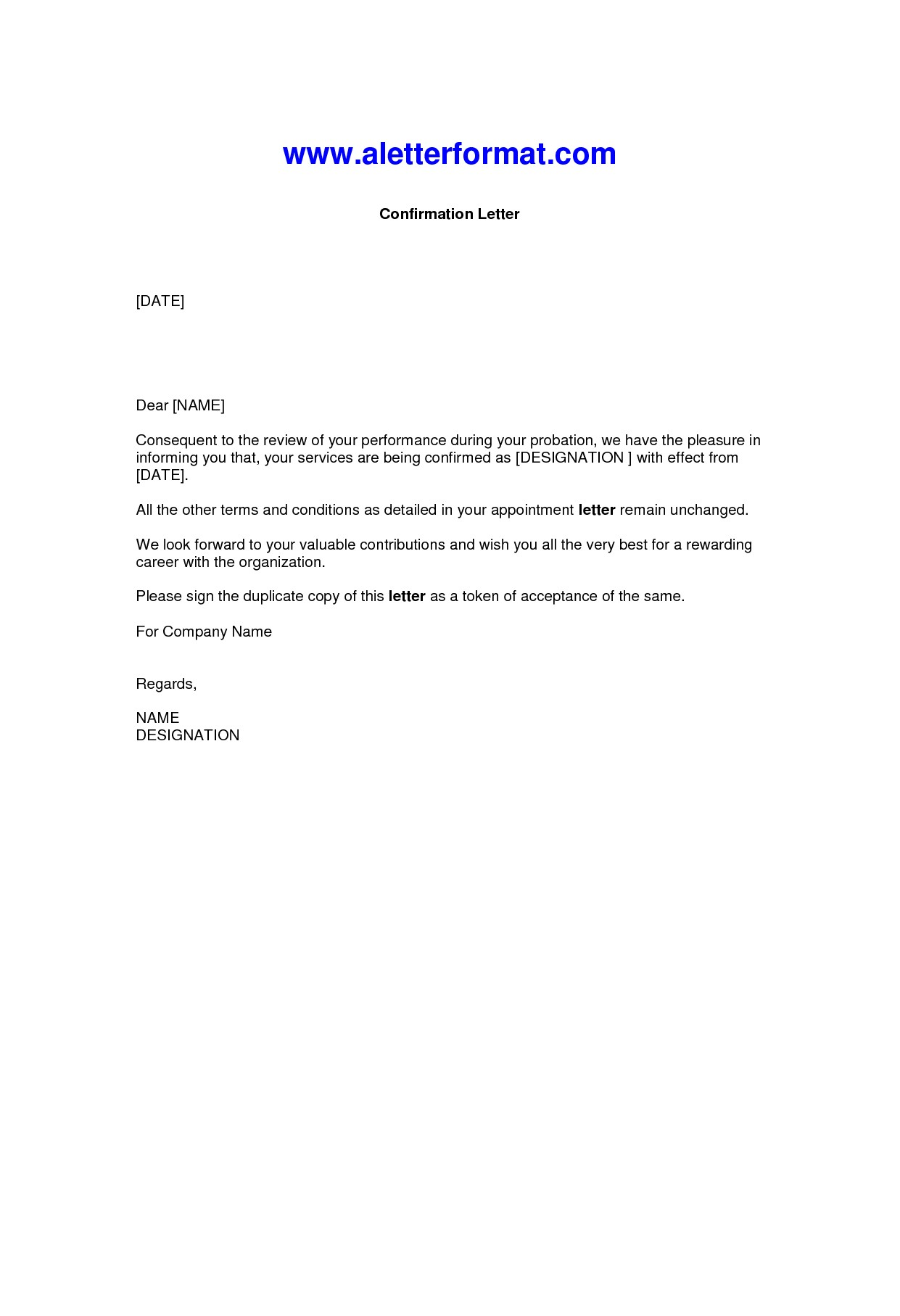 letter confirmation employment
