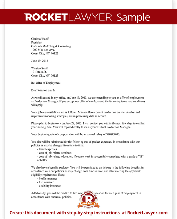 Confirmation Employment Letter