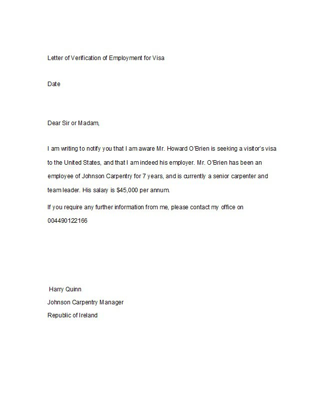 Letter to verify employment charlotte clergy coalition 40 proof of employment letters verification forms samples thecheapjerseys Image collections