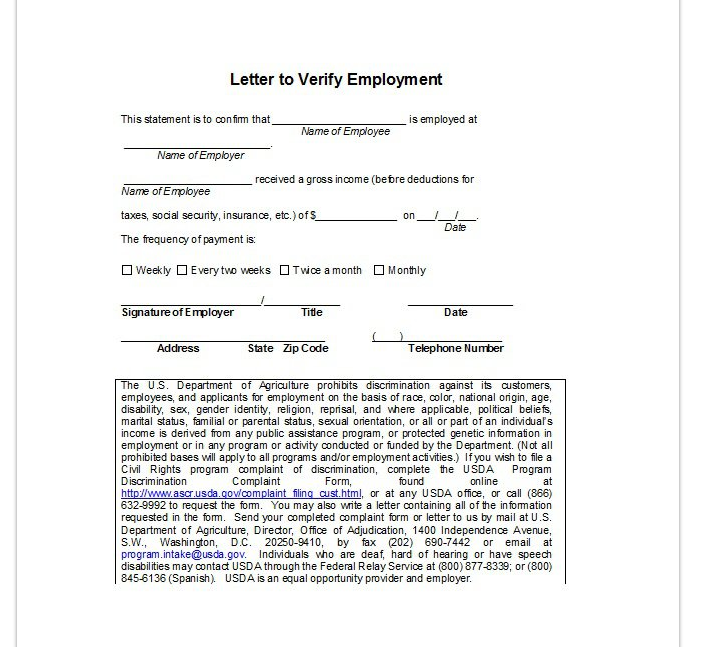 Employment Verification Letter | Top Form Templates | Free