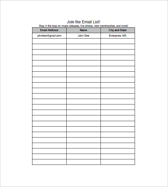 Email List Template 10+ Free Word, Excel, PDF Format Download