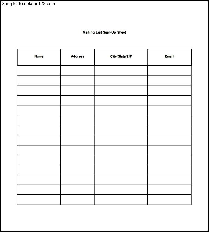 Free Printable Mailing List Template for Word   List Templates