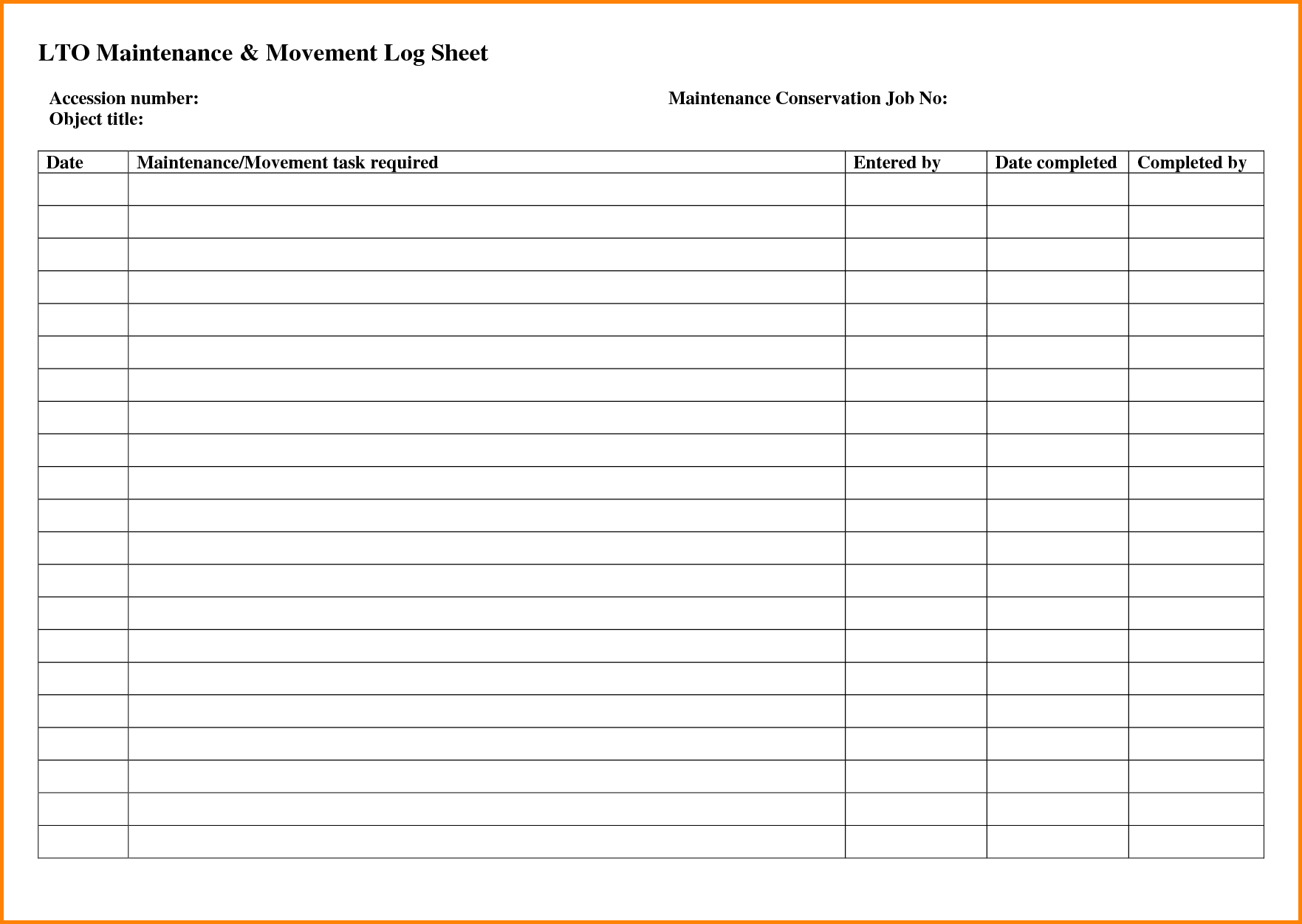 8+ maintenance log sheet | memo templates