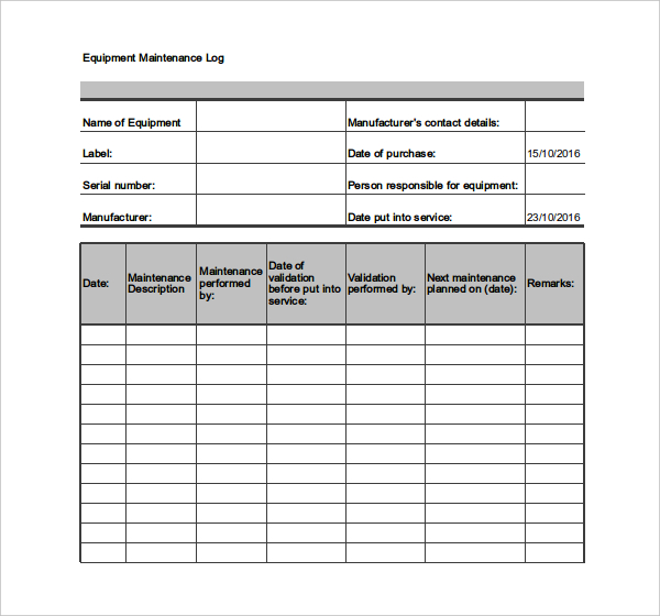 Outstanding Maintenance Log Template Sample For Equipment And
