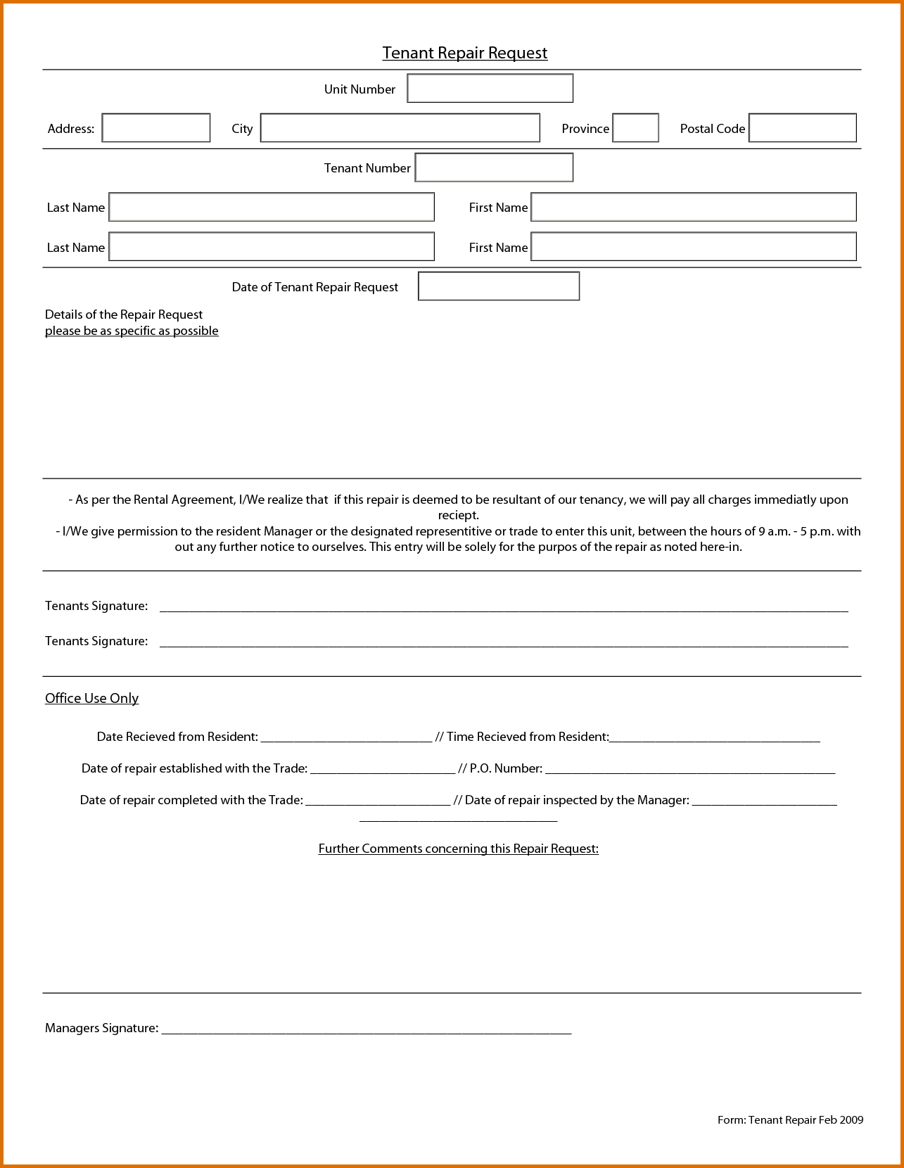 maintenance request form template   Tier.brianhenry.co