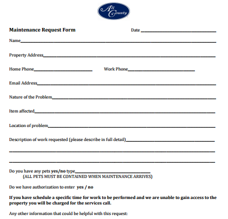 maintenance request form template | charlotte clergy coalition