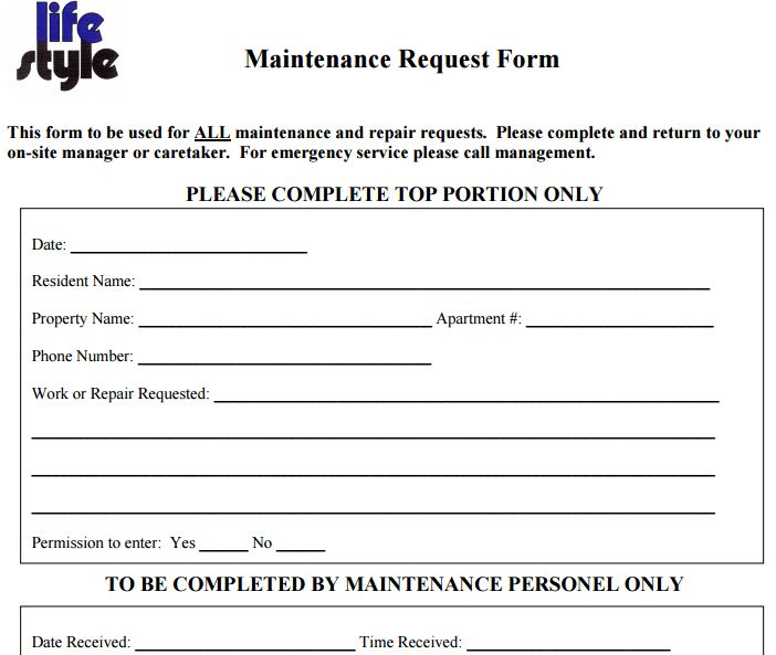 sample request form template maintenance request form template