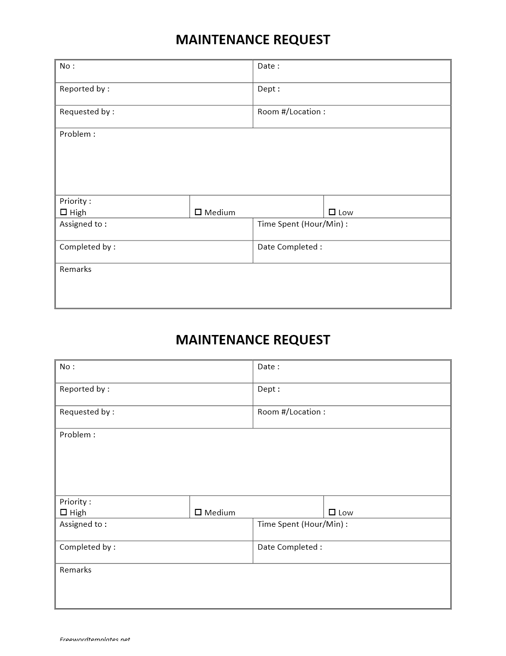 maintenance request template