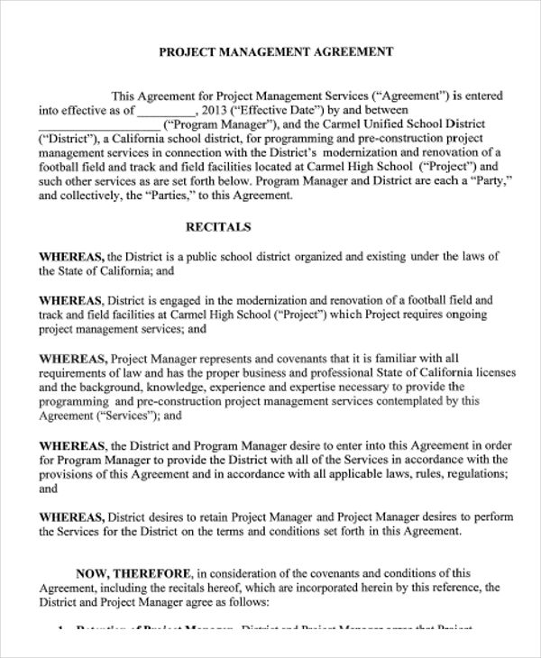 management agreement template 9 management agreement templates