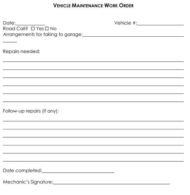 mechanic work order template word charlotte clergy coalition