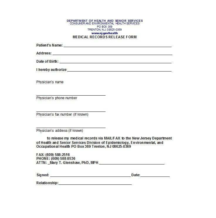 medical release form template 30 medical release form templates