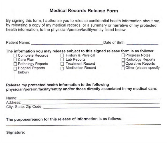 Medical Release Form Template | charlotte clergy coalition