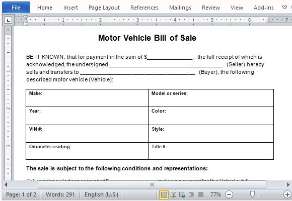 microsoft office bill of sale template motor vehicle bill of sale