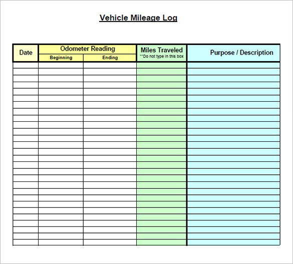 mileage form   Kleo.beachfix.co