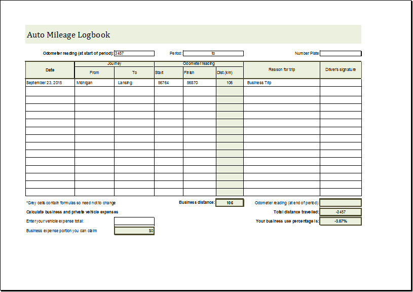 Car Log Book Template - Erieairfair