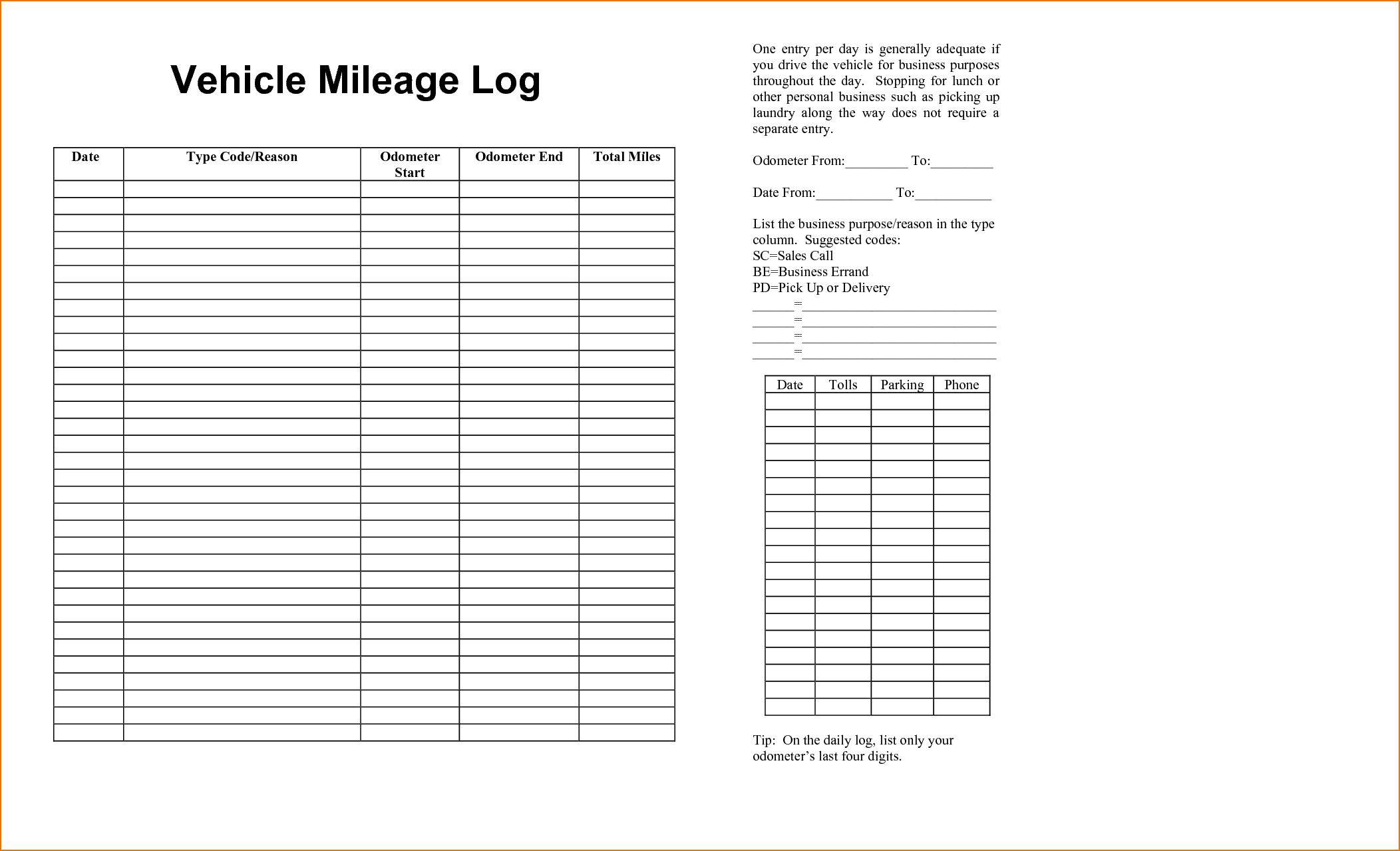 Mileage log book template charlotte clergy coalition auto mileage log book kleoachfix cheaphphosting Images