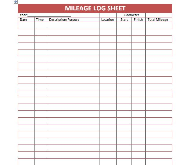 Printable Mileage Log Sheet Template | Projects to Try | Pinterest