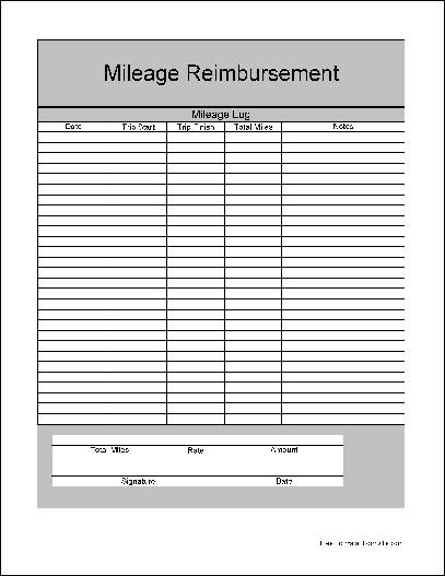 Free Mileage Tracking Log and Mileage Reimbursement Form