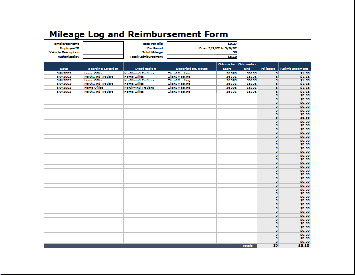 mileage reimbursement form excel