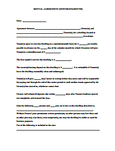 Month To Month Room Rental Agreement Template Charlotte