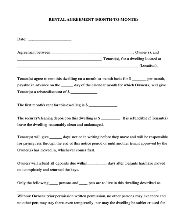 month to month room rental agreement template   Kleo.beachfix.co