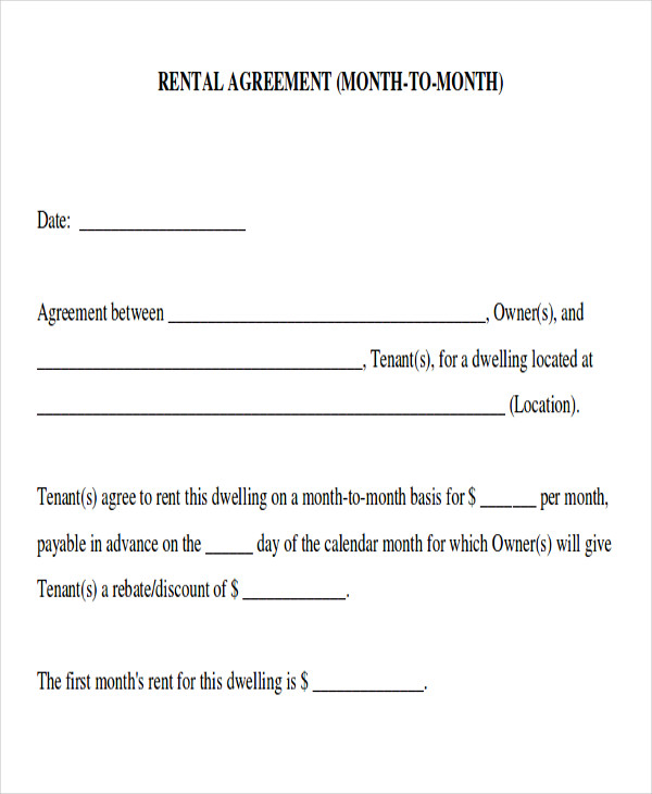 Month To Month Room Rental Agreement Template | charlotte clergy ...