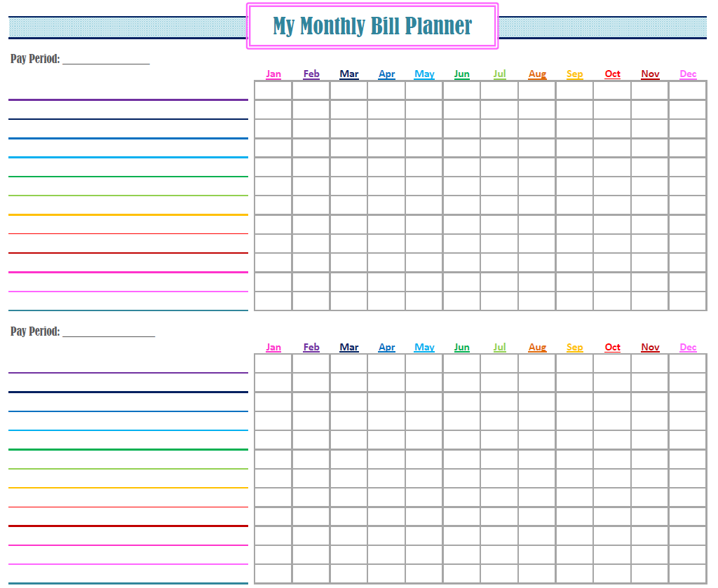 Monthly bill organizer printable charlotte clergy coalition for Monthly bill spreadsheet template free