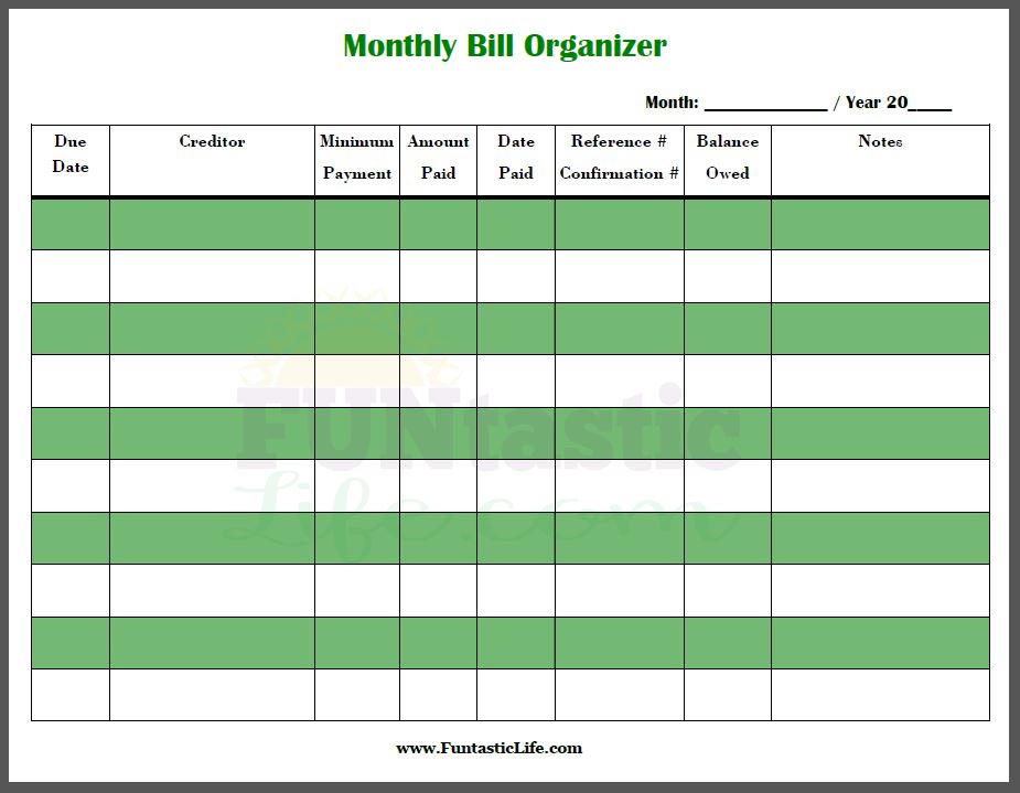 monthly bill organizer printable charlotte clergy coalition