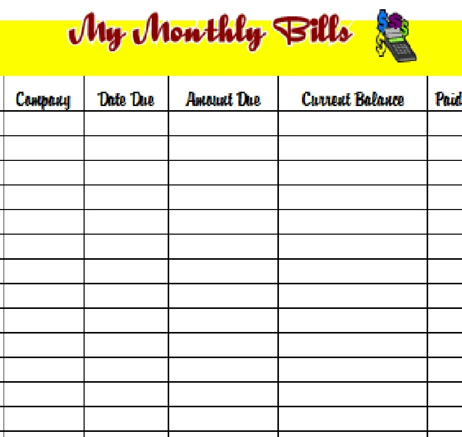 bill organizer template excel divide payments into 1st 2nd half