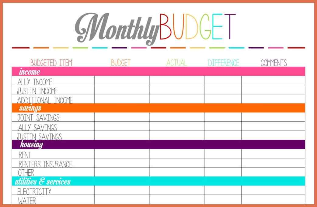 monthly bill simple budget template   SampleBusinessResume.