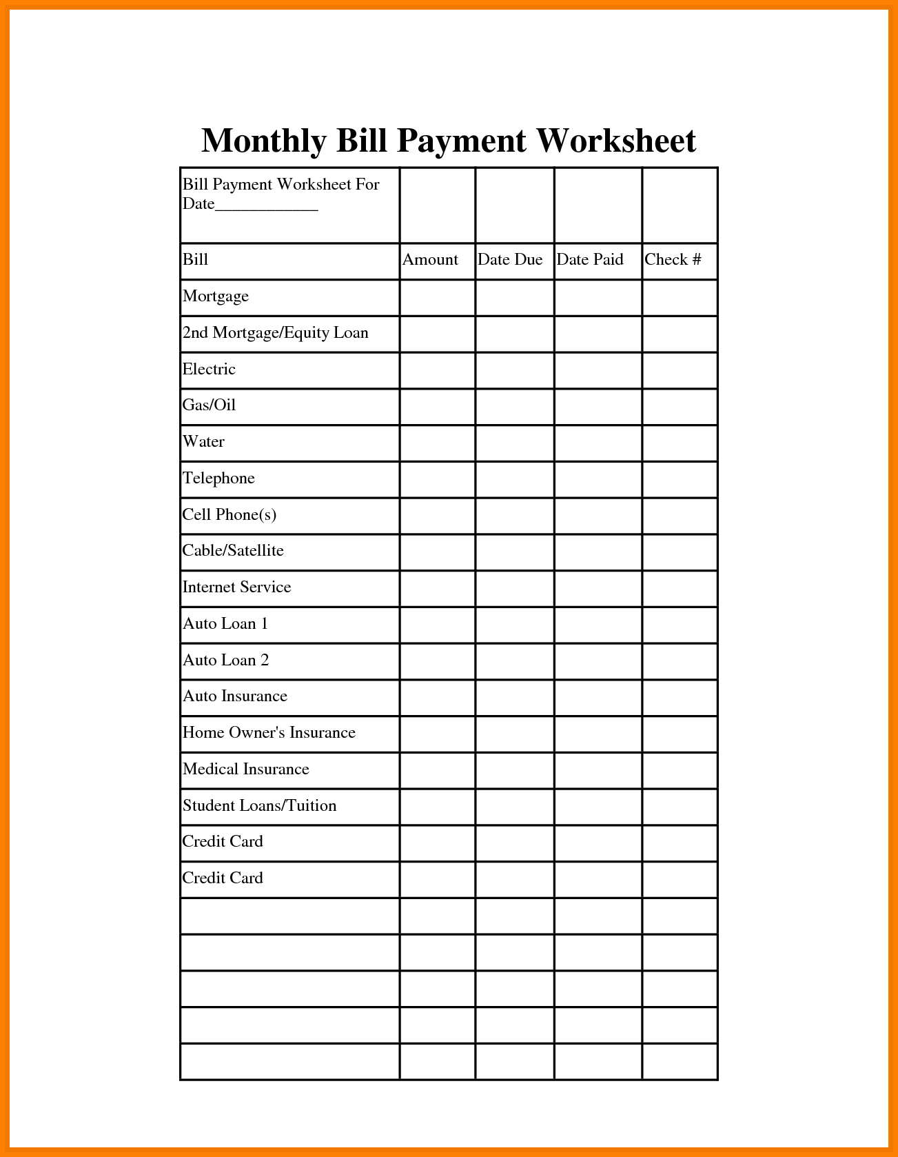 It is a graphic of Adaptable Free Printable Monthly Bill Organizer Sheets