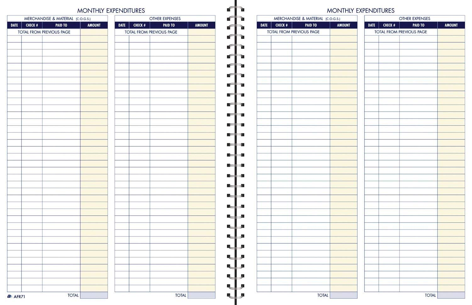 Monthly Bookkeeping Record Template