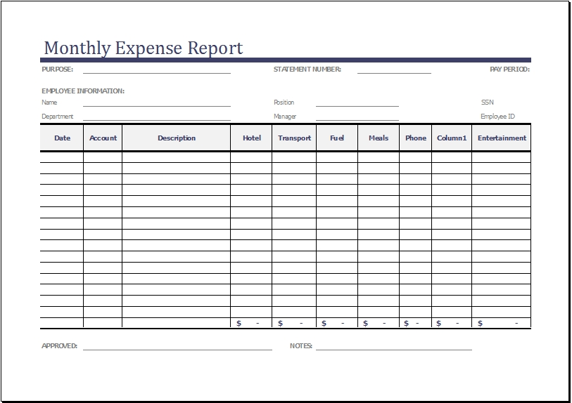 Small business monthly expenses expense report and template sample