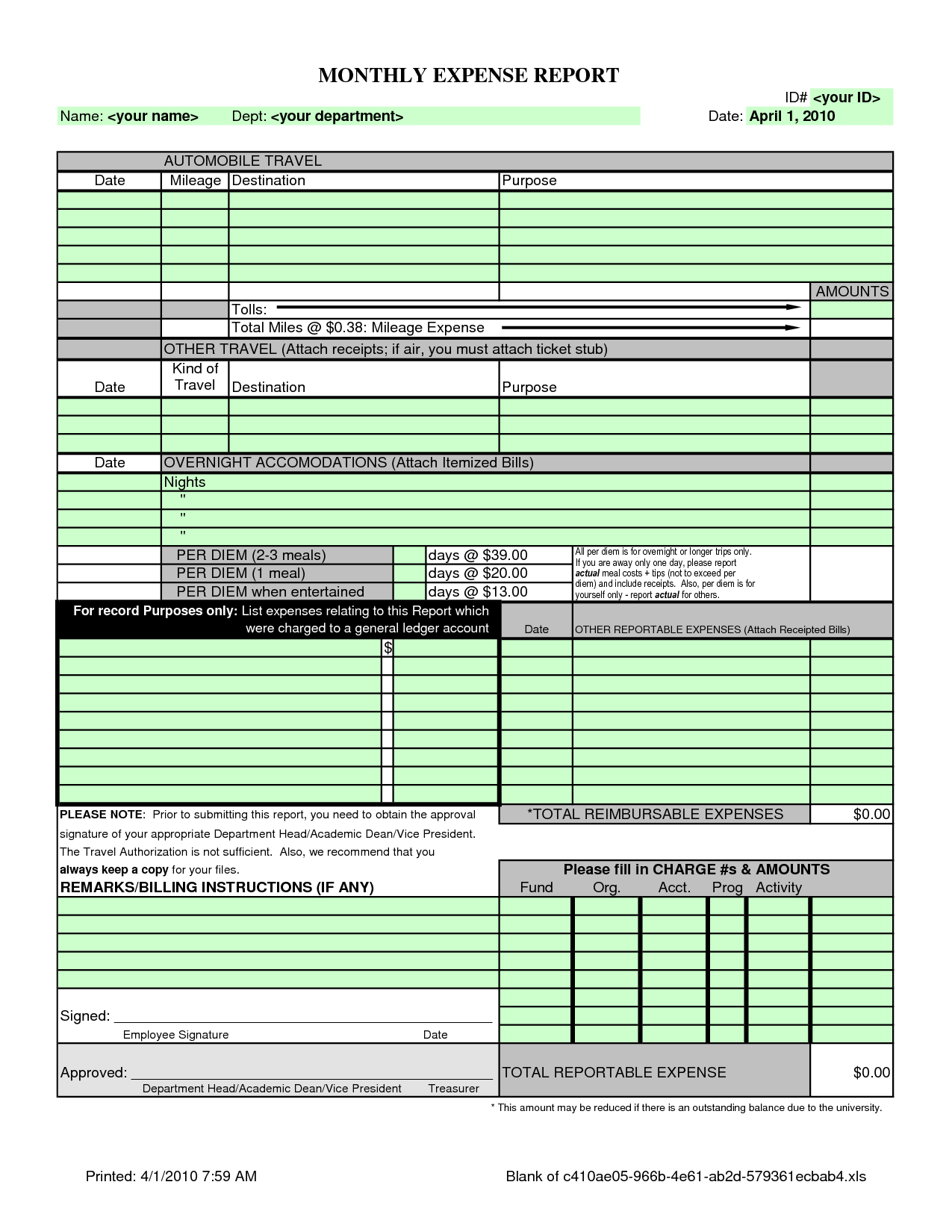 Free Expense Report Templates Smartsheet