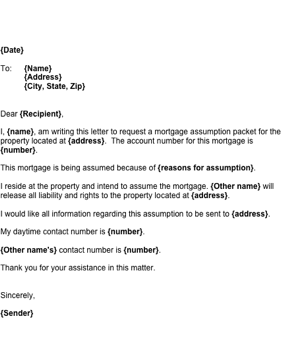 Mortgage Assumption Letter Template