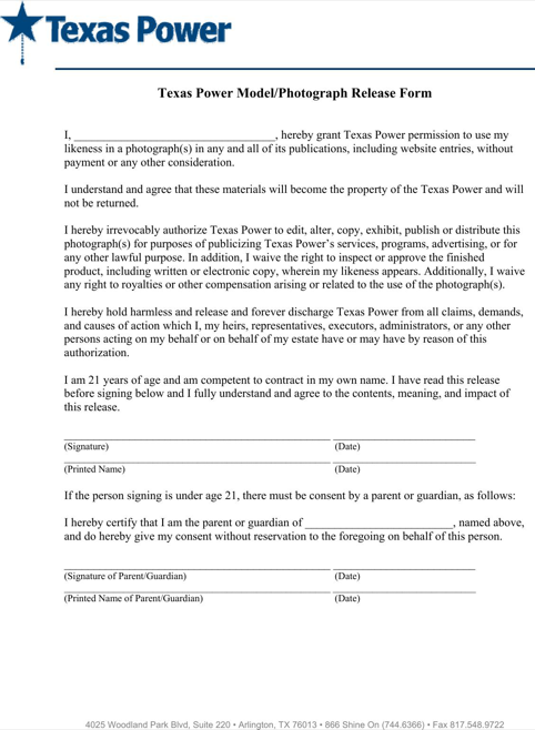 Release of liability form texas optional representation