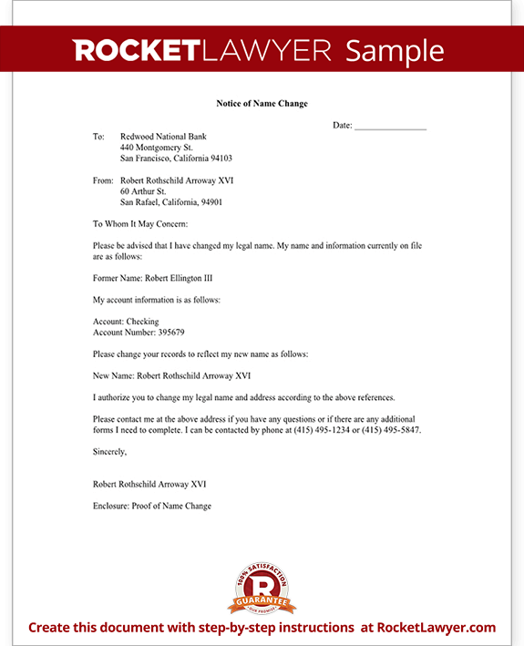 Name Change Notification Letter Template