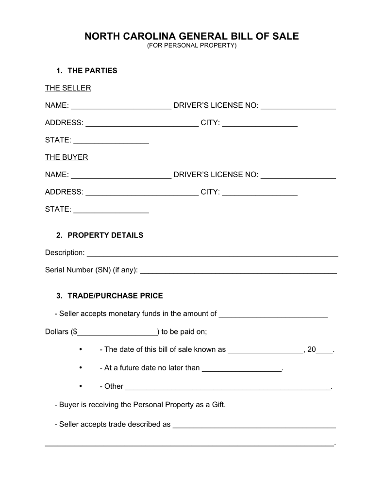 Free North Carolina General Bill of Sale Form   Word | PDF