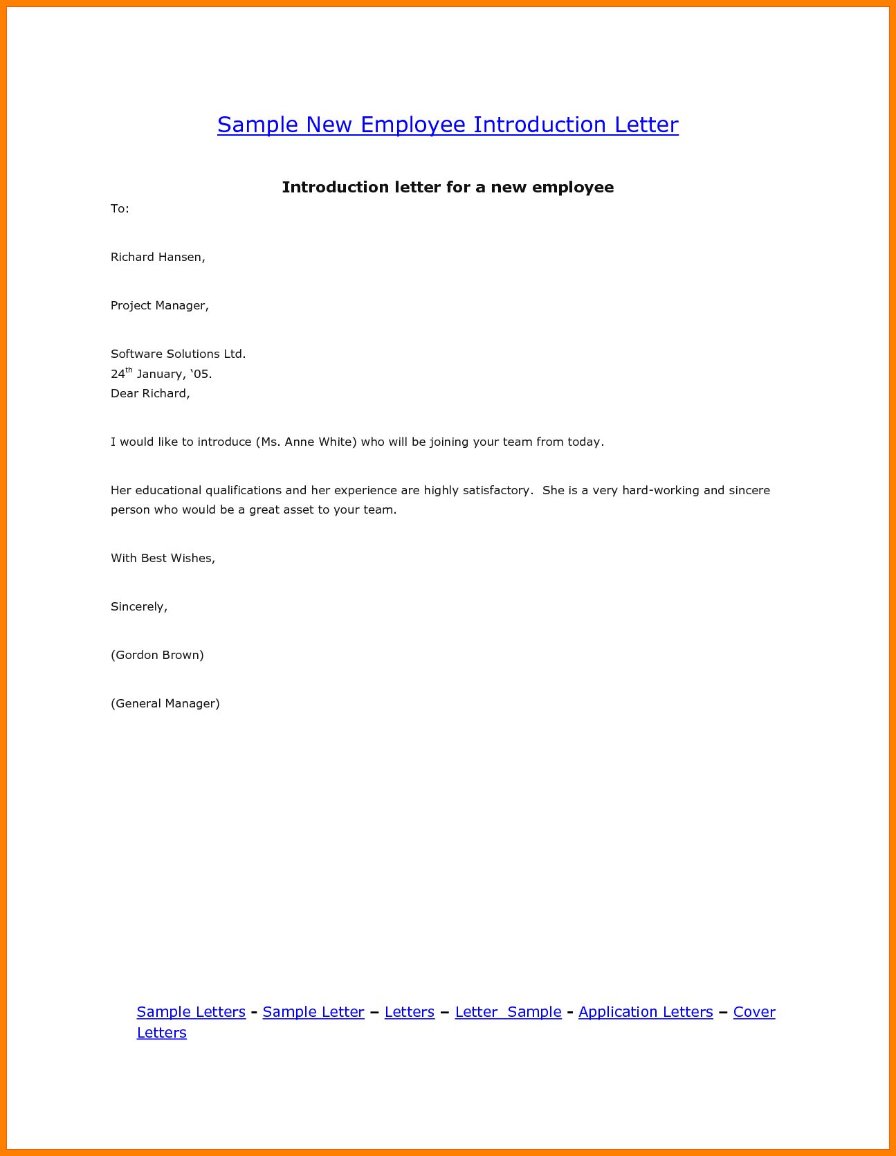 New Employee Introduction Template