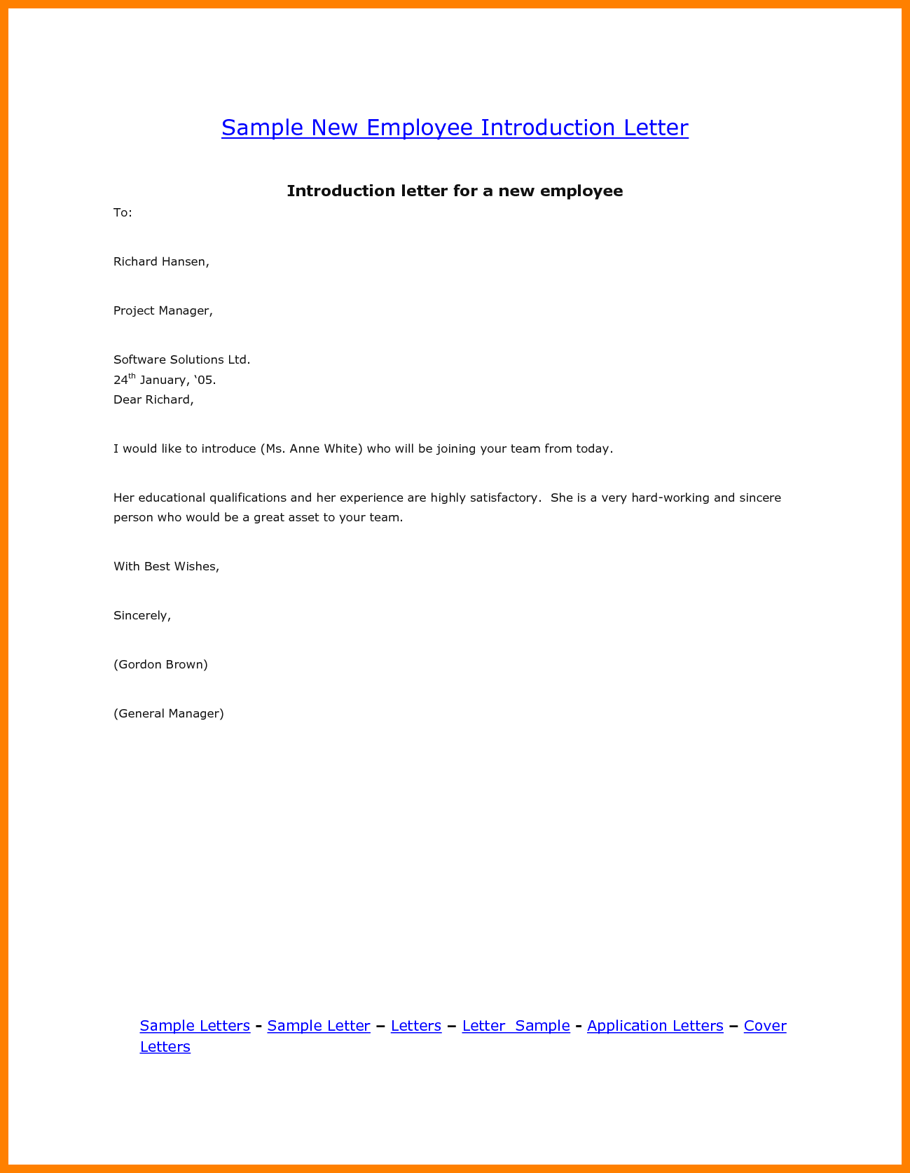 May I Introduce our New Employee to You Template & Sample Form