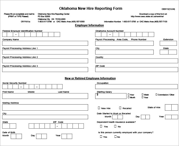 new hire form template 12 new hire processing forms hr templates