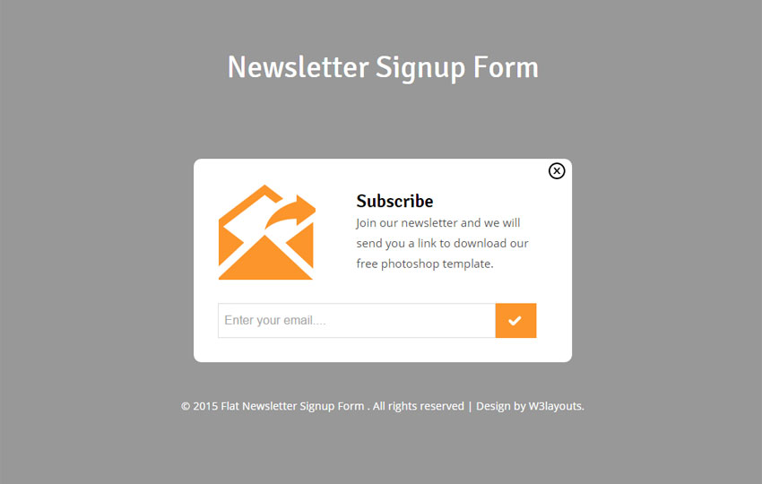 Newsletter Signup Form Responsive Widget Template   w3layouts.com
