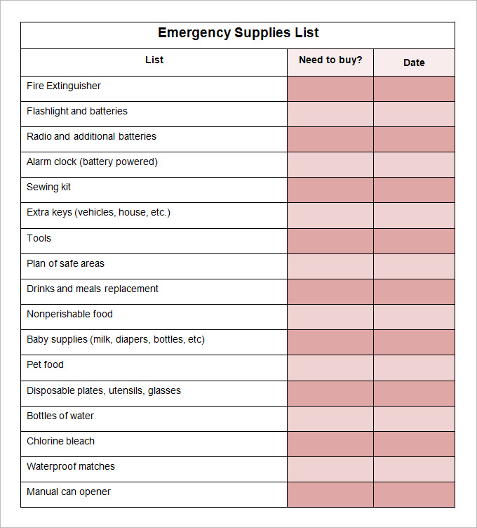 Office Supply Checklist Template Excel