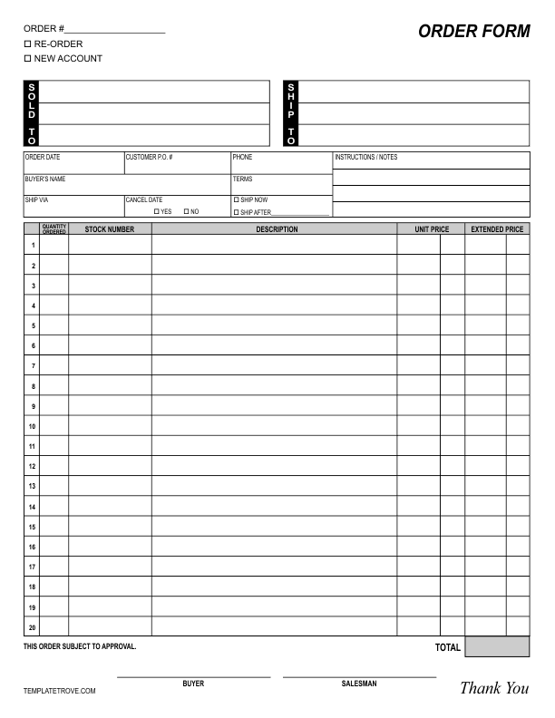 blank order form template blank order form templates 44 word excel