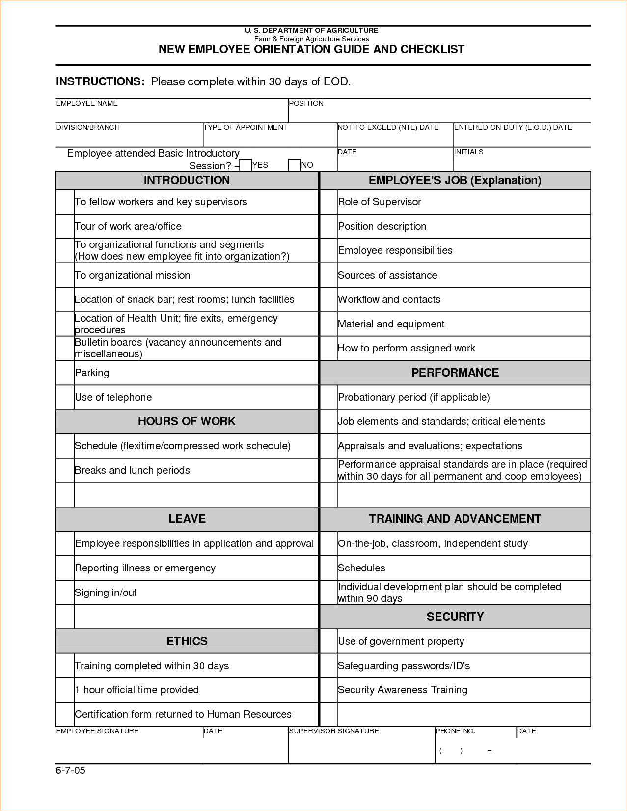 Orientation Checklist Template | charlotte clergy coalition
