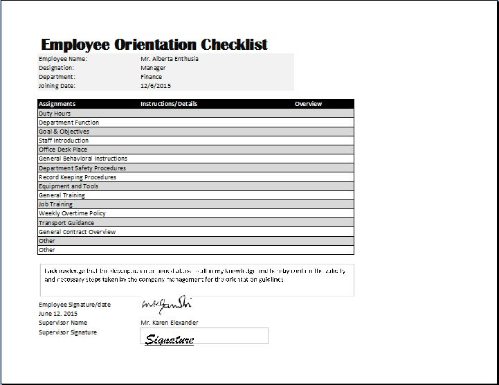 new employee orientation checklist sample   Boat.jeremyeaton.co